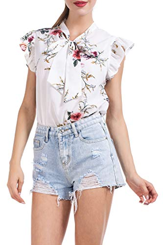 AUQCO Women's Bow Tie Blouse Casual Ruffle Cap Sleeve Floral Top Shirts