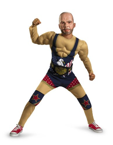 Tna Impact Wrestling Kurt Angle Classic Muscle Costume, Tan/Red/White/Blue, Large
