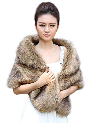 Aukmla Women's Brown Faux Fur Shawl Wedding Fur Wraps and Shawls Bridal Fur Stole Scarf with Stunning Rhinestones Brooch for Bride and ()