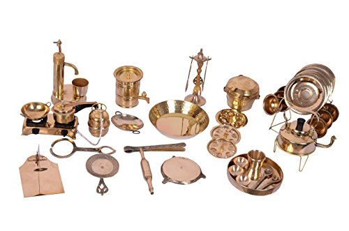 Desi Toys 42 pieces vintage miniature brass metal Cooking Set kids Cooking Pretend Play Set with kettle gas cooker rolling pin plate spoon & much more Perfect gift collectible décor - Cylinder Stand Vessel