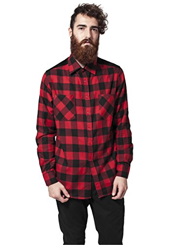 Urban Classics Men's Corduroy Patched Checked Flannel Shi...