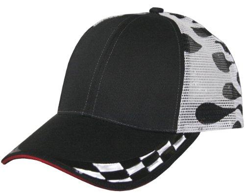 Checkered Race Car Decal Mesh Trucker Snapback Cap (Black/Checkered)