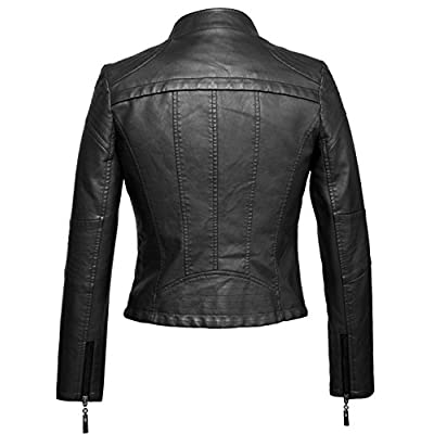 chouyatou Women's Fashion Tailored Zip-Up Faux Leather Quilted Racer Jacket at Women's Coats Shop