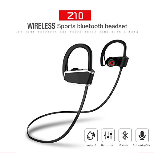 [2018 Newest] Bluetooth Headphones Wireless Sports Earphones with Mic IPX7 Waterproof HD Stereo Waterproof Earbuds for Gym Running Workout 8-10Hrs Battery Noise Cancelling Headsets(Black)
