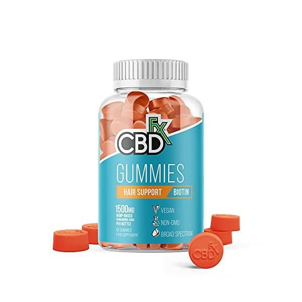 CBDfx Biotin Hair Support CBD Gummies (60 Gummy Bottle) – 1500mg CBD