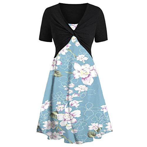 New!Qingell Women Summer Dress Short Sleeve Bow Knot Bandage Top Sunflower Print Mini Dress Beach Swing Dress (M, Sky Blue)