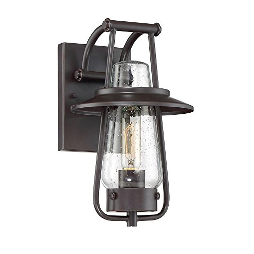 Designers Fountain 32021-SB Stonyridge - 13'' One Light Outdoor Wall Sconce, Satin Bronze Finish with Clear Seedy Glass by Designers Fountain