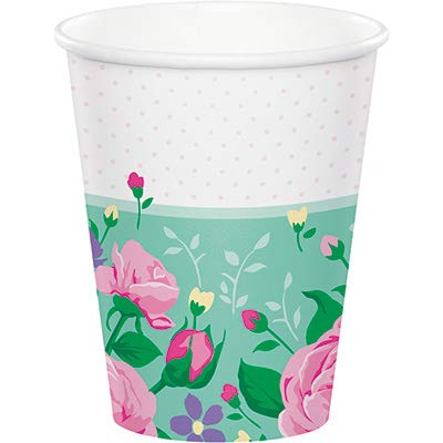 Club Pack Floral Fairy Sparkle Birthday Printed 9oz Paper Cups, Box of 96