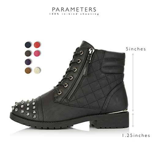 DailyShoes Women's Military Lace up Buckle Combat Boots Ankle High Exclusive Credit Card Pocket Frontal Metal Stud Hiking Booties, Black PU, 11 B(M) US by DailyShoes (Image #3)