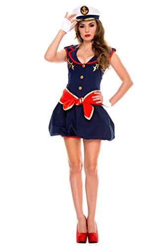 Womens Captivating Captain Costumes (Rave Wonderland Women's Captivating Captain Extra Large)
