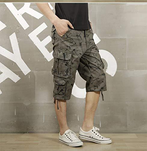 Pantalone Grün Cargo Moda Vintage Festivo Cotone Pantaloncini 4 3 Di Army Da Bermuda Uomo Abbigliamento In Multitasche HwaP1Sq