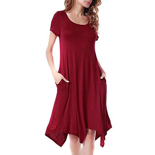 【MOHOLL】 Women's Summer Short Sleeve Casual Tunics Plain Flowy Swing T-Shirt Loose Dresses Wine Red