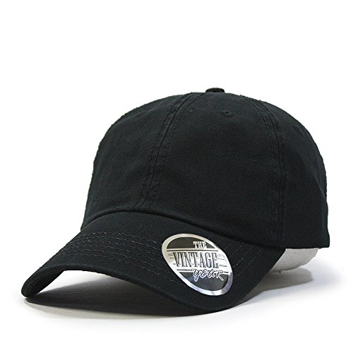 Vintage Year Classic Solid Cotton Adjustable Dad Hat Baseball Cap (Black)