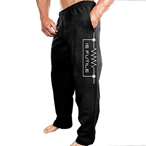 Price comparison product image SuperBlu Men Heartbeat Is Futile Funny ComfortableHip-Hop Vintage Sweatpants Leisure Wear M Black