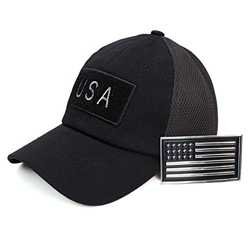 USA American Flag 3D Chrome Patch Tactical Hat Mesh Back Adjustable Baseball Cap