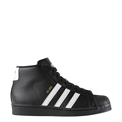 adidas Originals Unisex-Kids Pro Model J Sneaker, Core Black, Ftwr White, Gold Met, 4.5 M US Big Kid by adidas Originals