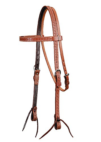 - Colorado Saddlery The Oiled Basket Stamped Brow Band Headstall