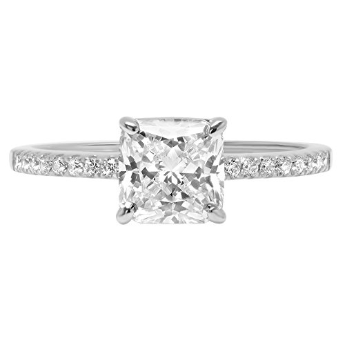 14k White Gold 1.46ct Asscher Round Cut Classic Solitaire Designer Wedding Bridal Statement Anniversary Engagement Promise Accent Solitaire Ring, 9.75, 9.75 by Clara Pucci