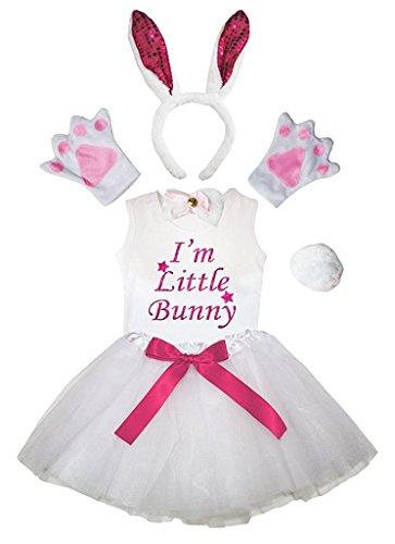 Petitebella Headband Bowtie Tail Gloves Shirt Skirt 6pc Girl Costume (Hot Pink SE Bunny, 6-8 Yr) -
