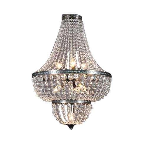 QAZQA Clásico/Antiguo Lámpara de araña VALENCIA 50 Vidrio / Cristal / Metal / Redonda / Alargada / Adecuado para LED E14 Max.