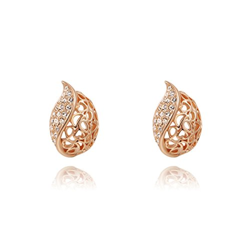 Price comparison product image Duo La Elegant Hollow Leaf Cubic Zirconia 18K Rose Gold Plated Fashion Lady Stud Earrings