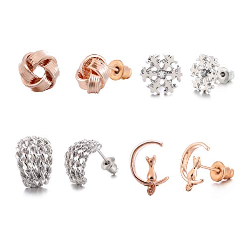 Tamhoo 32 Pair Stainless Steel White Rose Gold Plated Cute Animal Cat Elephant Star Geometric CZ Faux Pearl Snowflakes Twise Geometric Peace Sign Symbol Small Stud Earring Set by Tamhoo (Image #1)