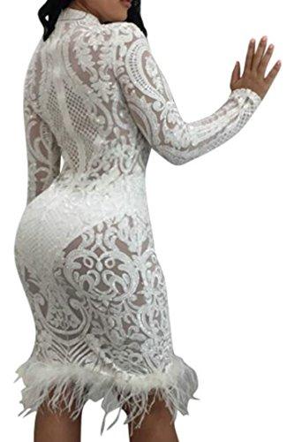 Cromoncent Femmes Épissures Dos Nu Sexy Moulante À Sequins Robes De Club Midi Blanc