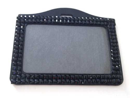 Rhinestone Crystal Bling Horizontal ID Badge Holder (Black)