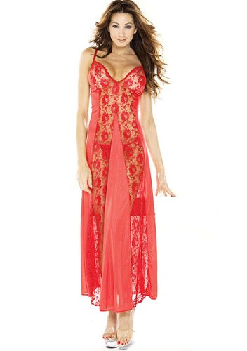 Fantasy Womens Long Lace Panel Night Gown