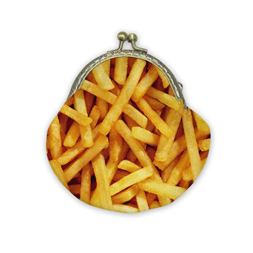 - French Fries Mouth Gold Bag Canvas Coin Purse Cash Bag Small Purse Wallets Mini Money Bag Change Pouch Key Holder Double Sides Printing