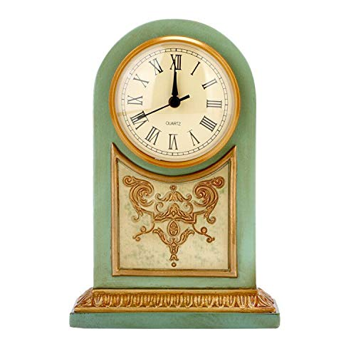Uzone Antique Desk Clock, Vintage Old Fashion Non-Ticking Hand Painted Small Table Clock with Battery Powered, Light Green