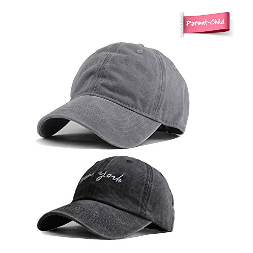 - HH HOFNEN Kid's Washed Twill Cotton Baseball Cap Vintage Adjustable Hat for 2-8yrs Boys Girls (#4 Parent-Child Gray & NY Black)