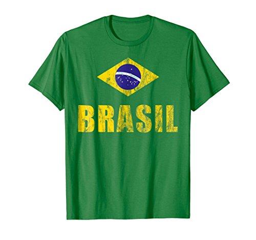 Brasil T-Shirt Gift Brazilian Flag Soccer Jersey ()