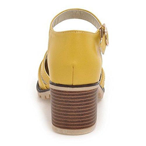 Eclimb Mujeres Round Toe Platform Zapatos T-strap Chunky Heel Pumps Amarillo
