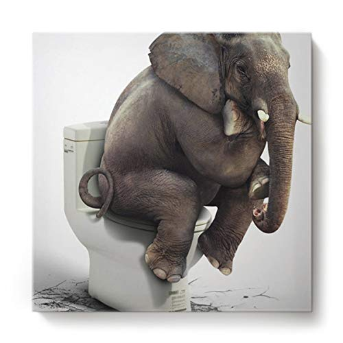 Square Canvas Wall Art Oil Painting for Bedroom Living Room Home Decor,Funny Elephant Sitting on The Toilet Animal Pattern Office Artworks,Stretched by Wooden Frame,Ready to Hang,16 x 16 Inch (Large Living Room Paintings For)