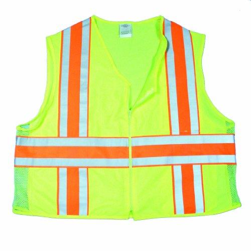 Mutua 16334–Alta visibilidad poliéster ANSI clase 2Deluxe Dot chaleco de chaleco de seguridad con bolsillos, grande,...