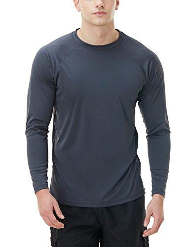 Tesla TM-MSS03-CHC_Medium Men's UPF 50+Swim Shirt Loose-Fit Swim Long Sleeve Tee Rashguard Top MSS03