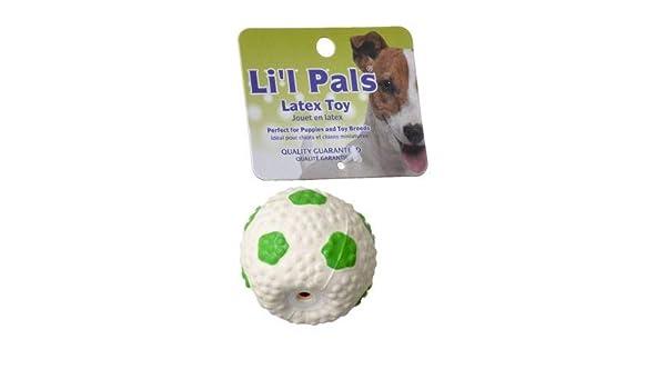 Lil Pals Mini balón de fútbol de látex para perros, verde y blanco ...