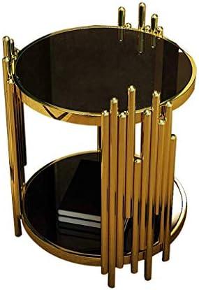 Ontwerper Ronde salontafel van verguld roestvrij staal, bijzettafel van zwart gehard glas, kleine ronde tafel aan de sofakant, design met twee lagen (52 × 52 × 55 cm)  qK1xcNm