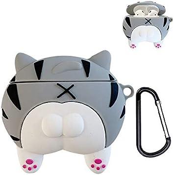 Amazon Com Unnfiko Super Cute Cat Butt Airpods Case 3d Cartoon