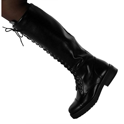 Rangers Botte Cavalier Lacets Chaussure Angkorly Mode Motard Haut CM Bloc Femme 4 Talon qEXxtS4wS