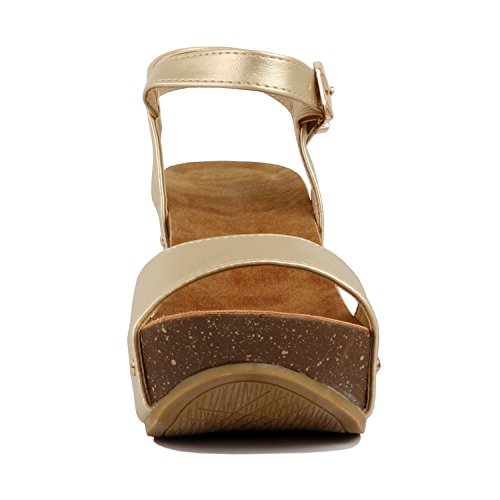 Women's Everyday Heart Pu Leather Wedge Guilty Faux Comfortable Sandal Goldv3 Cork Platform 5a1dxdP8qw