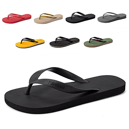 - FiveStoresCity Men's Women's Sandals Beach Flip Flops Comfortable House Slippers Shoes for Home Shower Casual Walking (Men 8 W US=42 EU, Black)