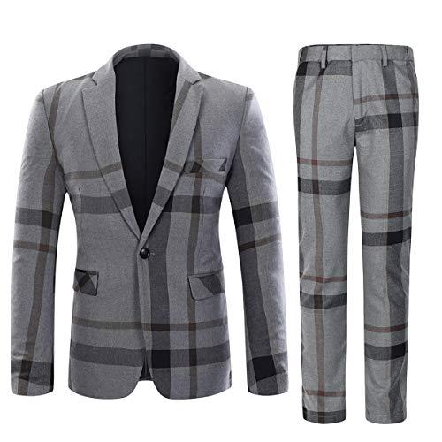 (YFFUSHI Mens Plaid 2 Piece Suit Set Blazer Jacket Tux Suit Pants,Grey,X-Large)