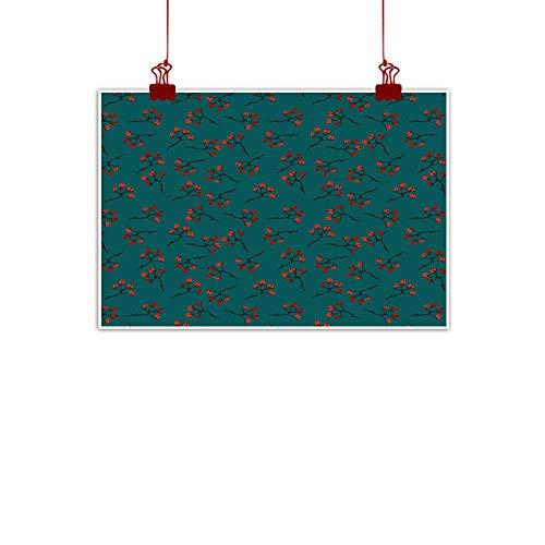 warmfamily Simple Life Minimalist Teal,Whimsical Modern Style Berry Christmas Pattern Hand Drawn Rustic Traditional,Teal Ruby Vermilion 24