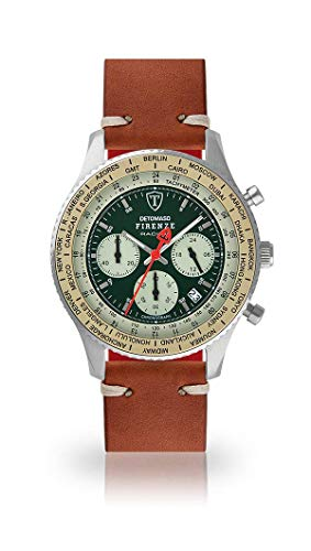 DETOMASO Firenze Mens Watch Analog Chronograph Quartz Brown Vintage Leather Strap Green dial DT1069-B-786