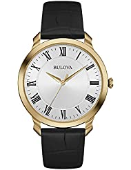 Bulova Mens 97A123 Stainless Steel Dress Watch With Black Leather Band