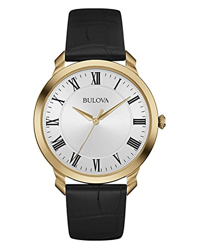 Bulova Men's 97A123 Stainless Steel Dress Watch With Black Leather Band (Watch Black Leather Dress)