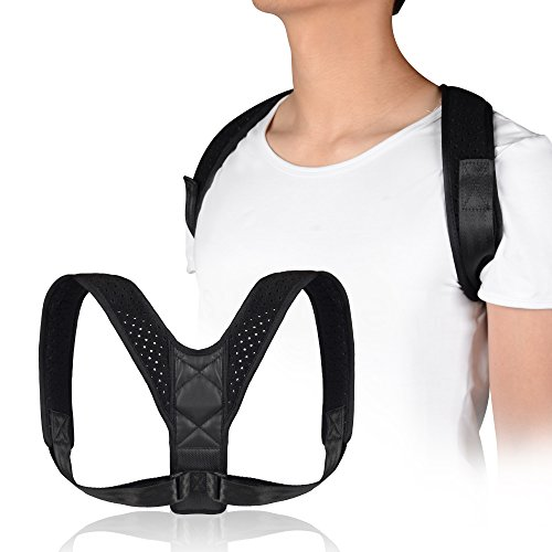 UncleHu Premium Adjustable Upper Back Brace Posture Corrector and Clavicle Support Brace for Men and Women, Improve Bad Posture, Thoracic Kyphosis, Shoulder Alignment, Upper Back Pain Relief