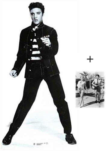 Elvis Presley Jailhouse Rock Personnage Découpé Dans Du Carton / Silhouette En Carton: Grandeur Nature / Standee / Stand-Up - Avec Star Photo (Dimensions 25x20 Cm) BundleZ-4-FanZ Fan Packs